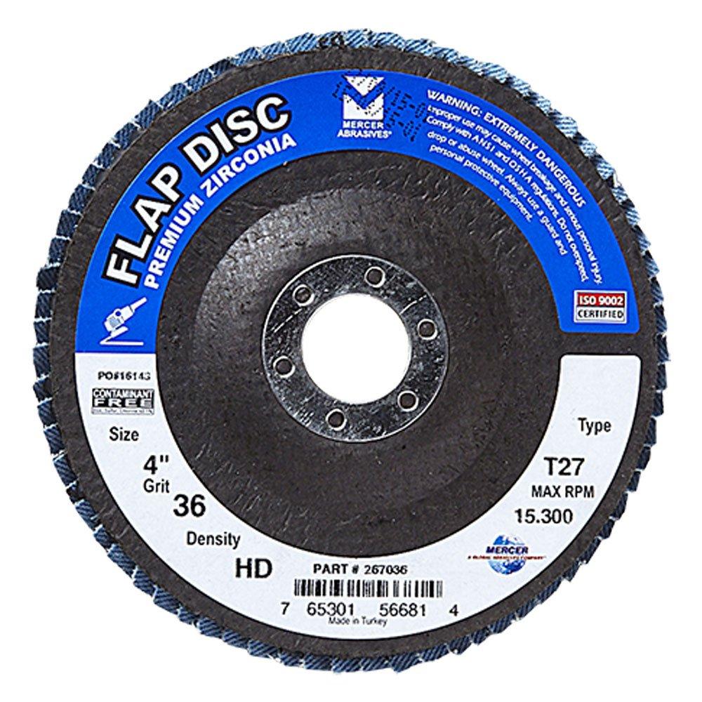 Mercer Industries 267036 Zirconia Flap Disc, High Density, Type 27, 4'' x 5/8'', Grit 36, 10 Pack