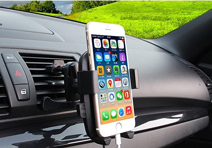 Universal Smartphones Car Air Vent Mount Holder Cradle Compatible with iPhone 7 7 Plus SE 6s 6 Plus 6 5s 5 4s 4 Samsung Galaxy S6 S5 S4 LG Nexus Sony Nokia and More Phone Holder Black