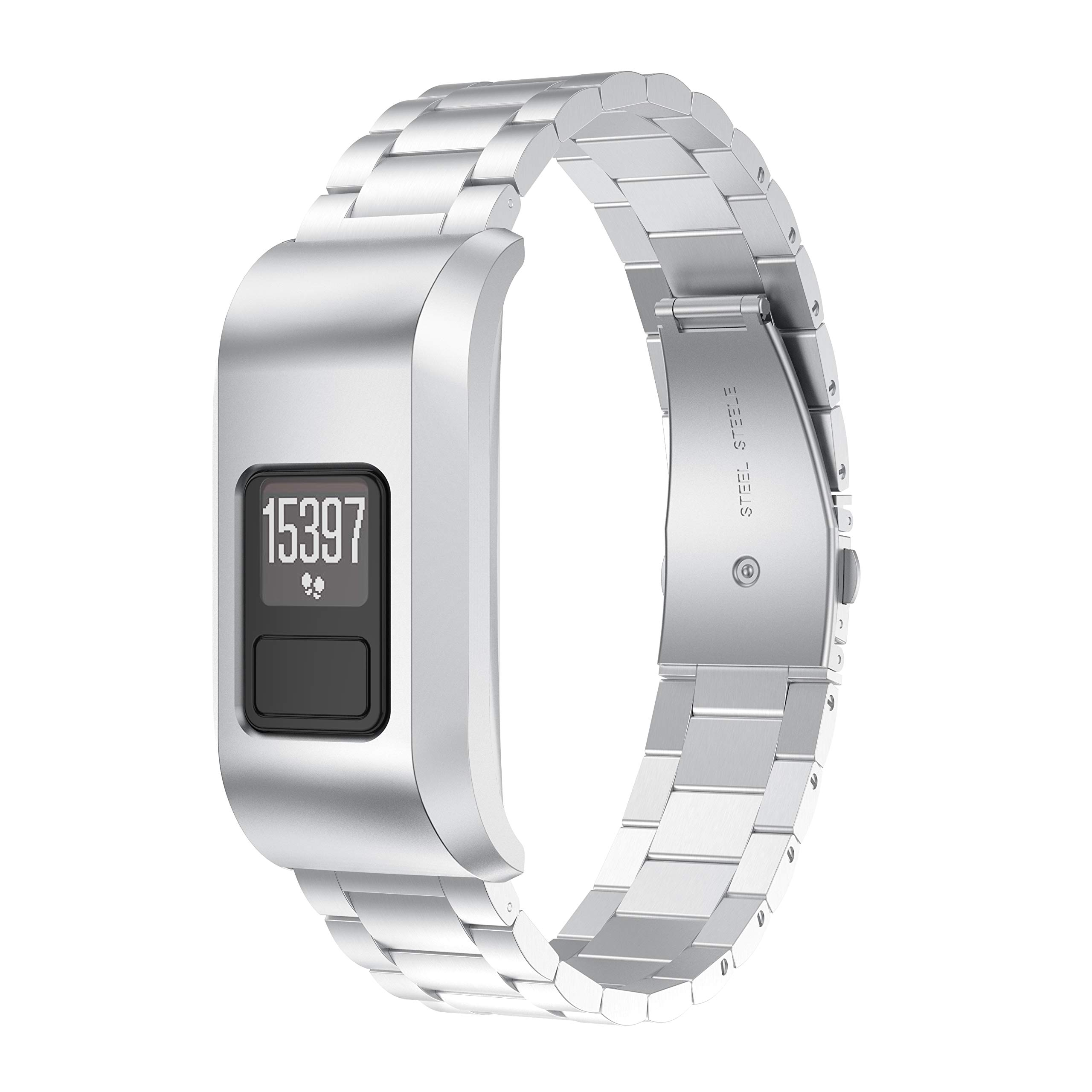 ANCOOL Compatible with Vivofit 3 Bands Stainless Steel Metal Link Watch Band Replacement for Vivofit 3 Tracker, Silver