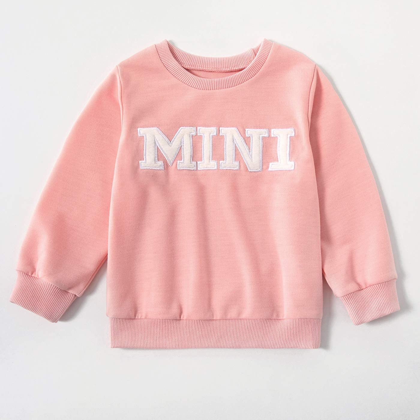 IFFE Mommy and Me Matching Pullover Sweatshirt Casual Sweater Mama Mini Letter Printed Long Sleeve Crewneck Top T Shirts for Mother and Kids