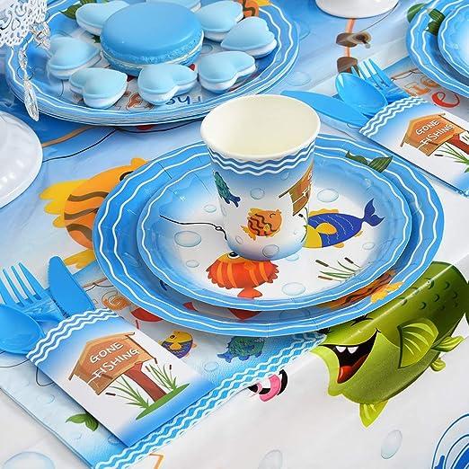 Pescador/Partido Vajilla para Ni/ños/Cumplea/ños Baby Shower/Pescar Tem/ática Desechable Cena/Postre Platos Tazas Almuerzo/Servilleta/Sirve 16 Invitados 64PCS WERNNSAI Pescar Suministros Para la Fiesta