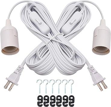 2-Pack 20 Feet Extension Hanging Lantern Pendant Light Lamp Cord Cable E26//E27