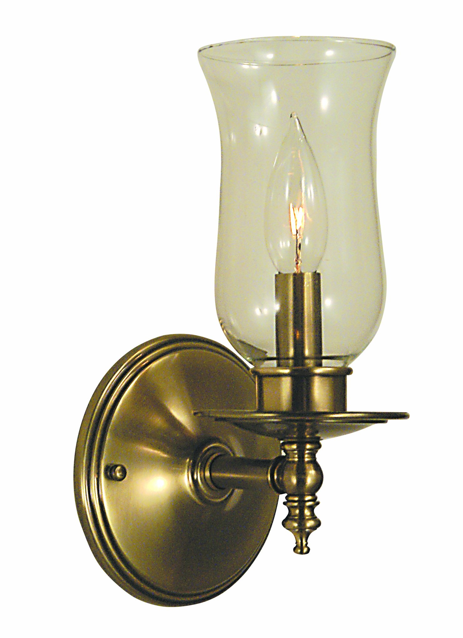 Framburg 2501 AB Sheraton 1-Light Wall Sconce with Clear Hurricane Glass, Antique Brass by Framburg