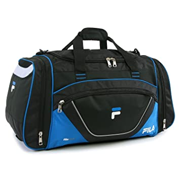 cc332c3ec11 Amazon.com   Fila Acer Large Sport Duffel Bag, Black Blue One Size ...