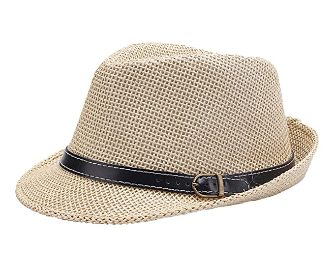369352a33f135 missfiona Mens Classic Black Belt Band Jazz Hat Fedora Straw Casual Beach  Hat(Beige)