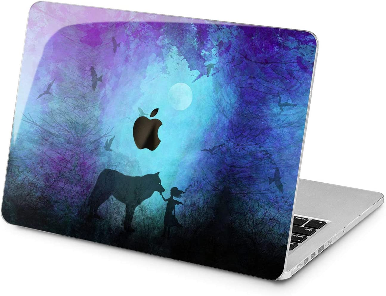 "Cavka Hard Shell Case for Apple MacBook Pro 13"" 2019 15"" 2018 Air 13"" 2020 Retina 2015 Mac 11"" Mac 12"" Wolf Unique Laptop Cute Animal Blue Print Design Protective Watercolor Plastic Painted Cover"