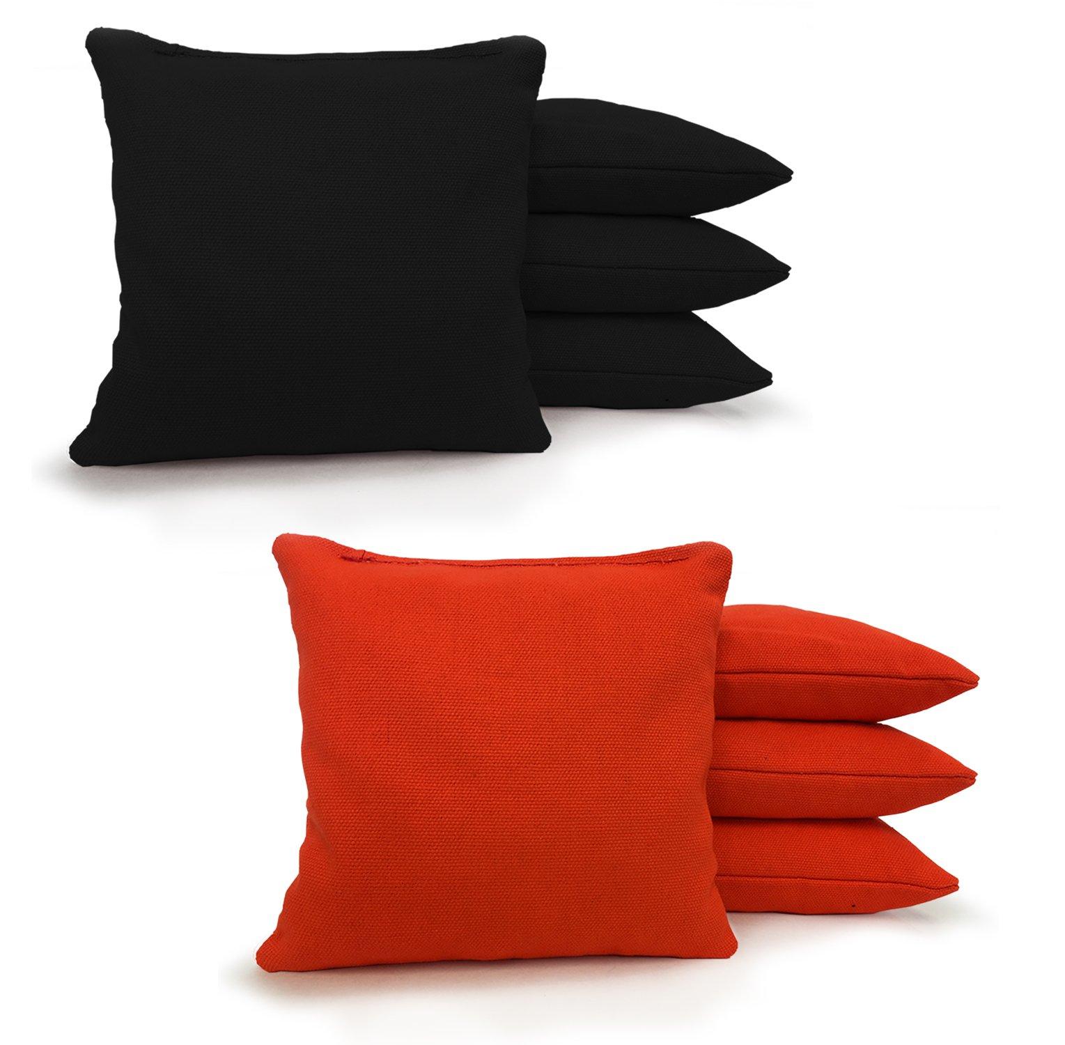 8 Standard Corn Filled Regulation 6''x6'' Duck Cloth Cornhole Bags! (Black/Orange)