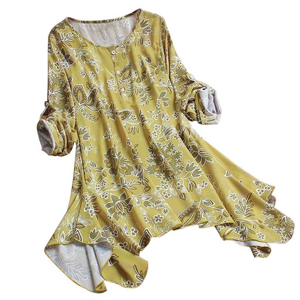 winsopee Vintage Blouse for Women Ladies Irregular Floral Print Tanks Long Sleeves Plus Size Tunic Top