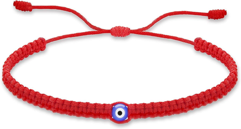 Tarsus Evil Eye 7 Knot Lucky Bracelets Adjustable Red String Amulet for Women Men Little Boys /& Girls