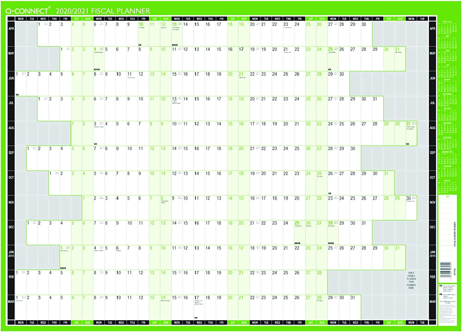 Q-Connect Wall Planner 2020 Year Planner with Poster Strip
