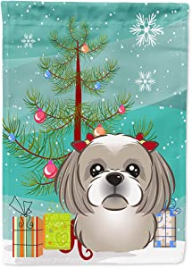 Caroline's Treasures BB1622GF Christmas Tree and Gray Silver Shih Tzu Flag Garden Size, Small, Multicolor
