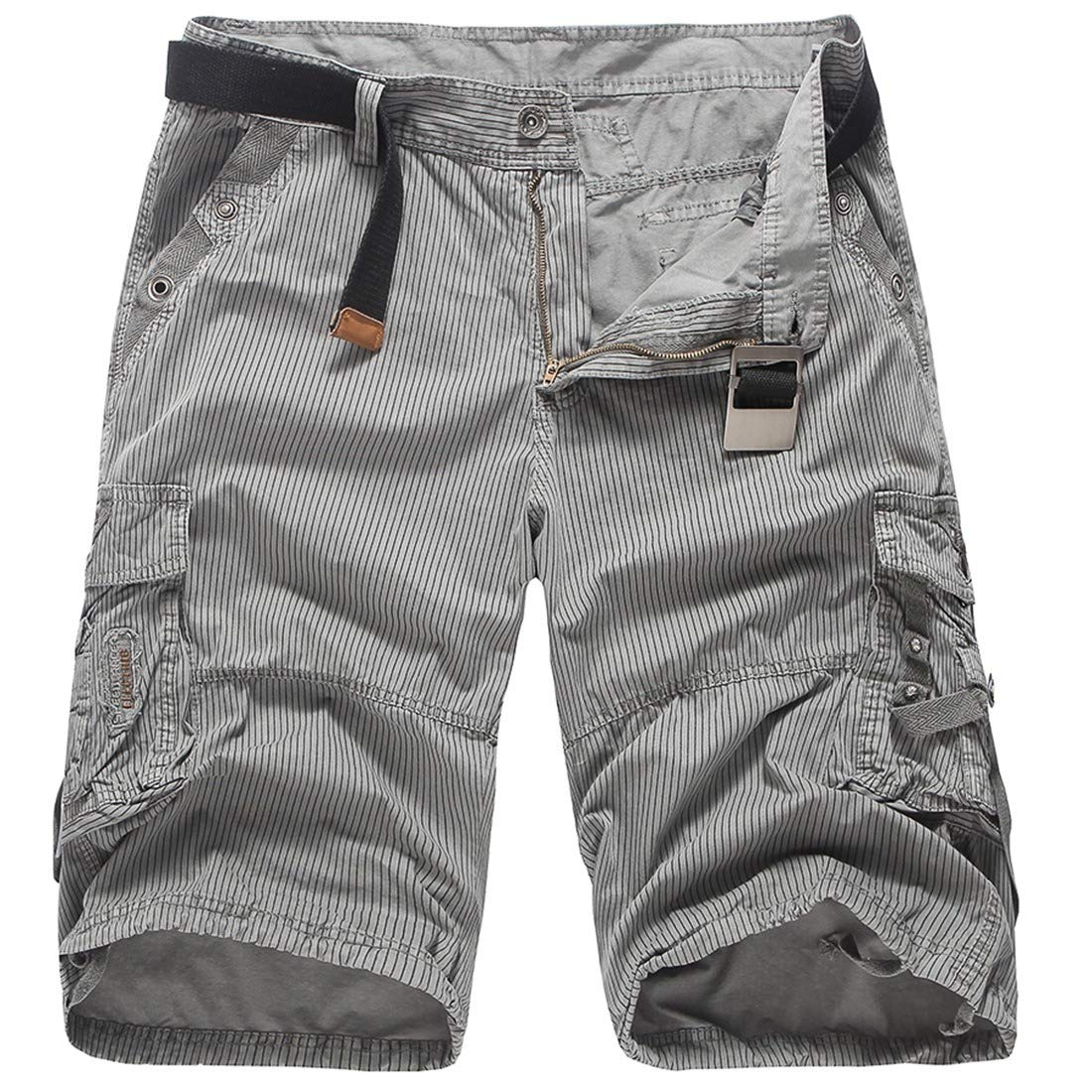 Mfasica Men Fitted Stripes Printed Cargo Pants Mid-Length Pockets Short Pants
