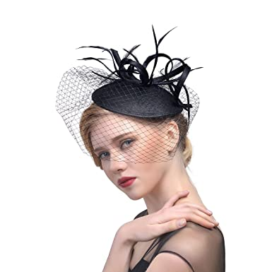 Image Unavailable. Image not available for. Colour  Women Fascinator  Pillbox Hats with Flower Veil Feather Hairclip Bridal Wedding Cocktail Party  ... f4da9b86a42c