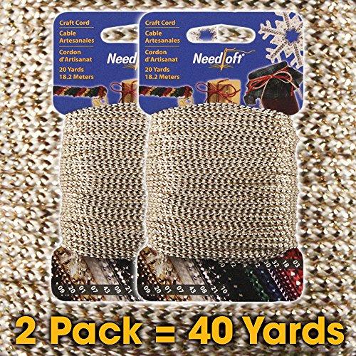 (#07 Metallic White Gold - Needloft Craft Cord 2 Pack 40 Yards (2x20yds))