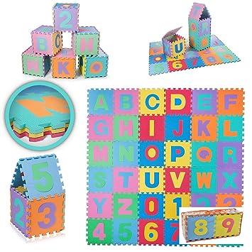LEVEL25 Alfombra puzzle goma eva de 36 piezas, juegos infantil y niños, desmontable con bolsa de almacenaje: Amazon.es: Bebé