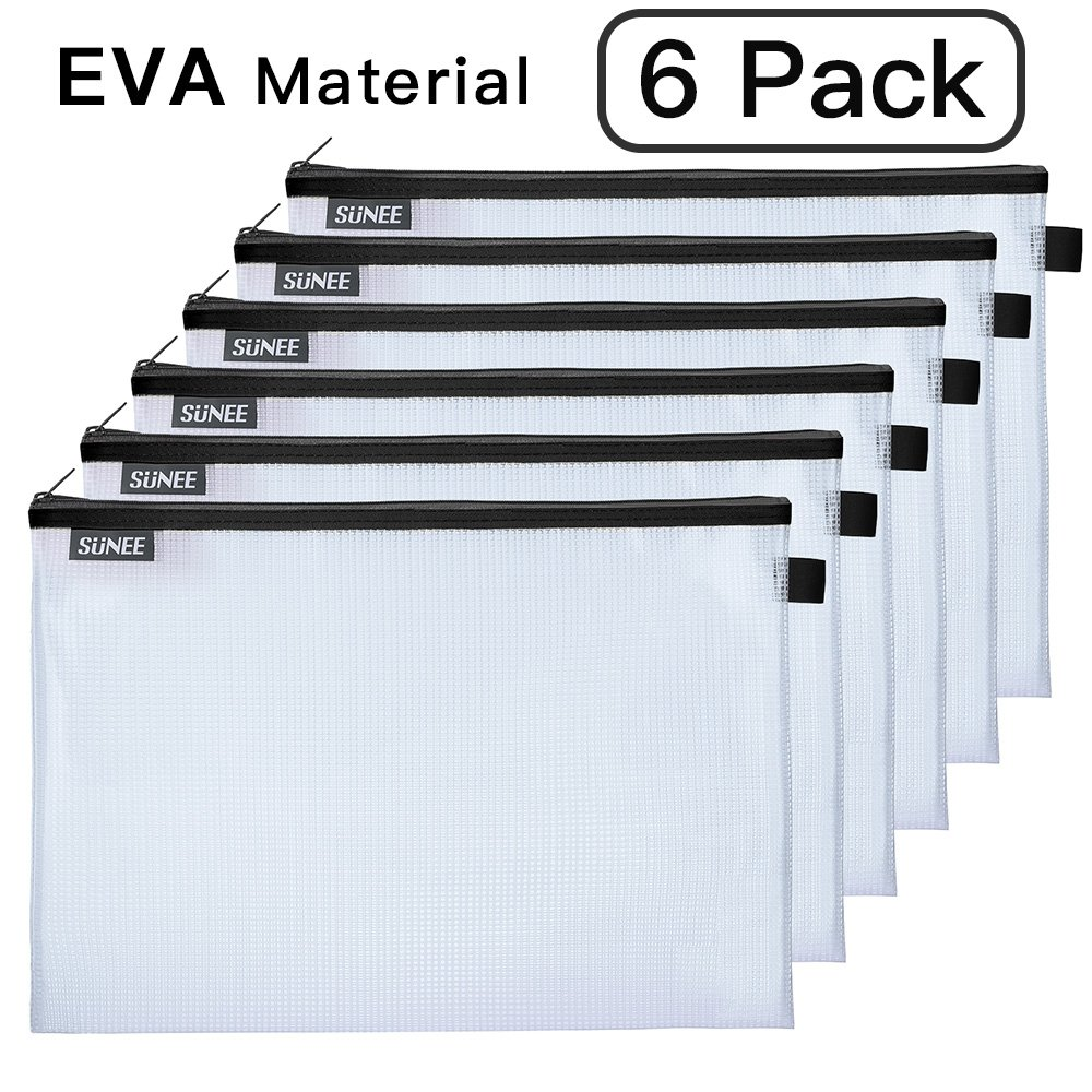 File Bags Zipper Pouch Large A4 Size, SUNEE Document Pouches Storage Bag Zip File Folder Holder EVA Material for Office School Family Supplies Business Travel (6 Pack, Black)