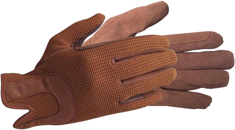 AFE Guantes de equitación para caballo de todo el día, guantes de tela de Dublín para mujer, de piel, ecuestres