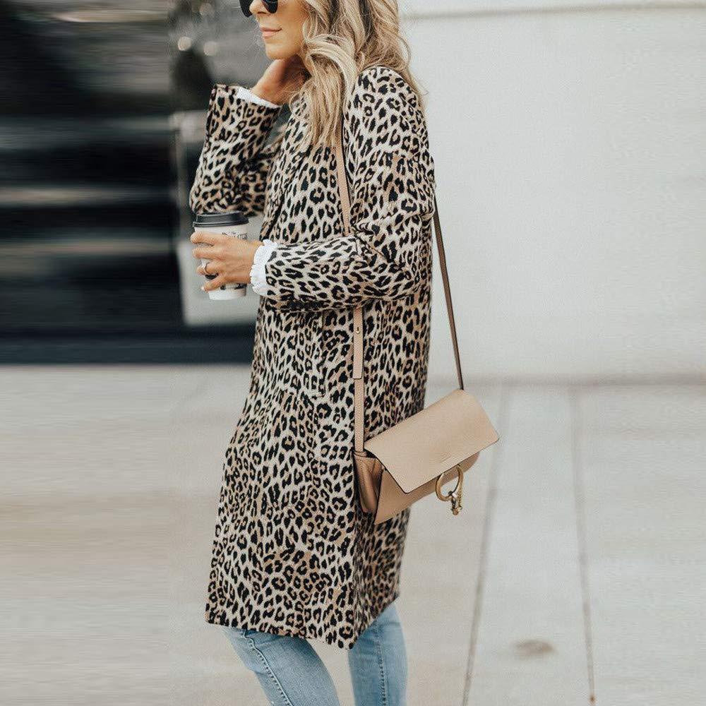 ❤ Abrigo Largo Leopardo Mujer, Otoño Invierno Manga Larga Leopardo Estampado de Moda Bolsillo Largo Abrigo Absolute: Amazon.es: Ropa y accesorios