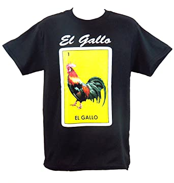 dbb86d29a9 Leos Apparel Mexican Loteria Unisex Black T-Shirt Funny (Small, 1 El Gallo