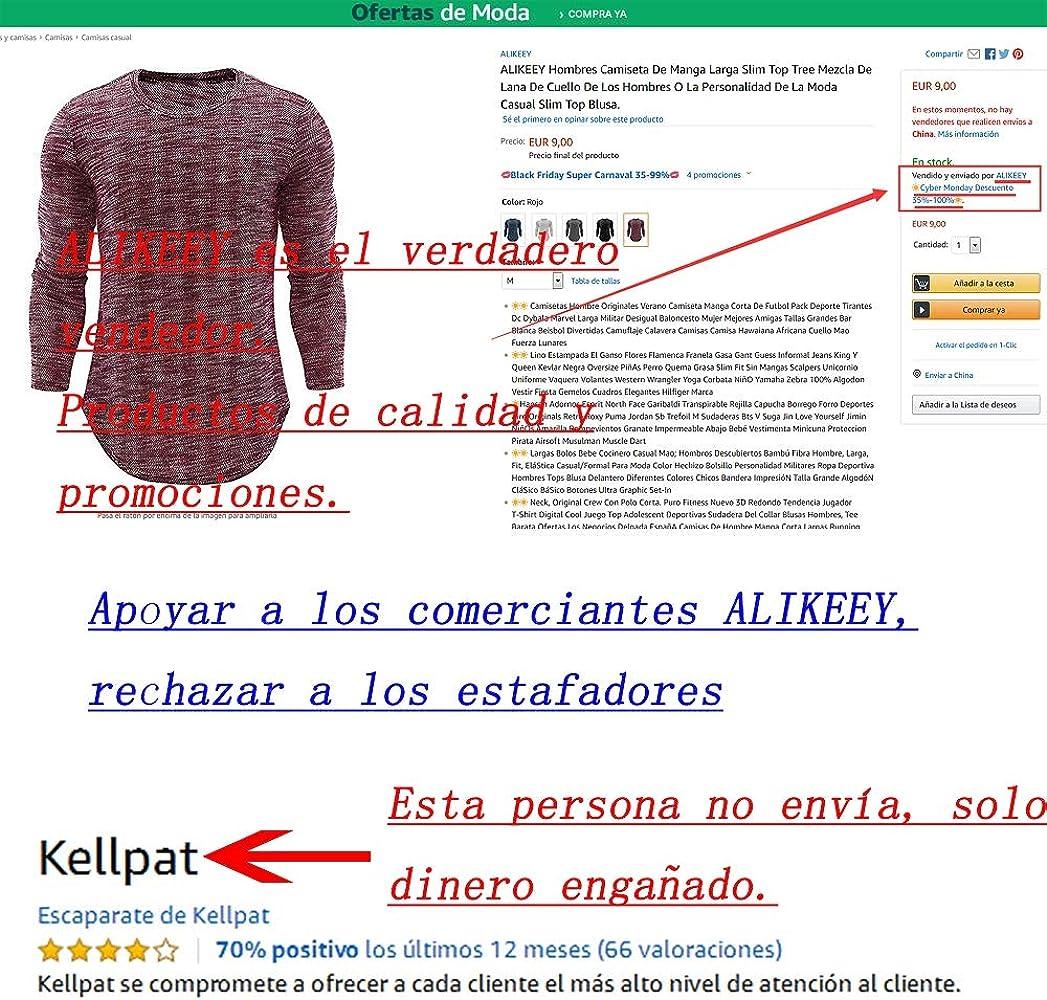 ALIKEEY Hombres Camiseta De Manga Larga Slim Top Tree Mezcla De ...