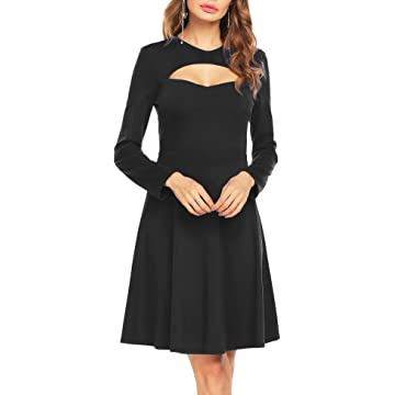 UNibelle Women's Sexy Keyhole Sweetheart Neck Long Sleeve Swing Cocktail Party Dress