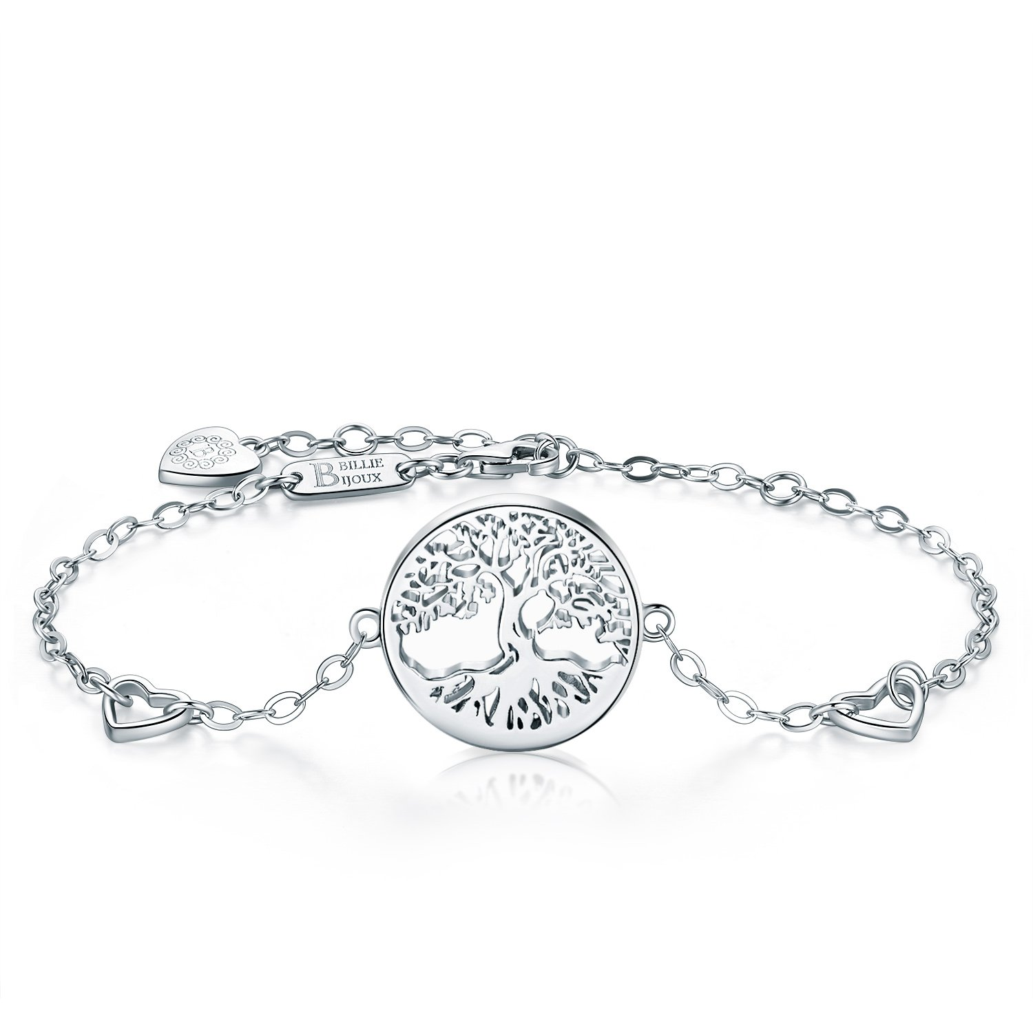 Billie Bijoux Women 925 Sterling Silver Tree of Life Heart Charms Adjustable Bracelet White Gold Plated Best Gift for Graduation, Christmas, Mother's Day and Birthday