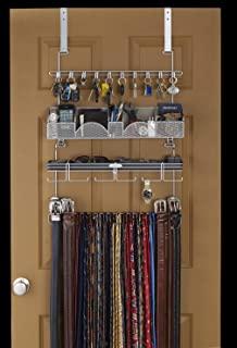 Men\u0027s Over the Door/Wall Belt Tie Valet Organizer - SILVER powder coat - High & Amazon.com: Belt hanger holder rack closet organizer storage: Home ...