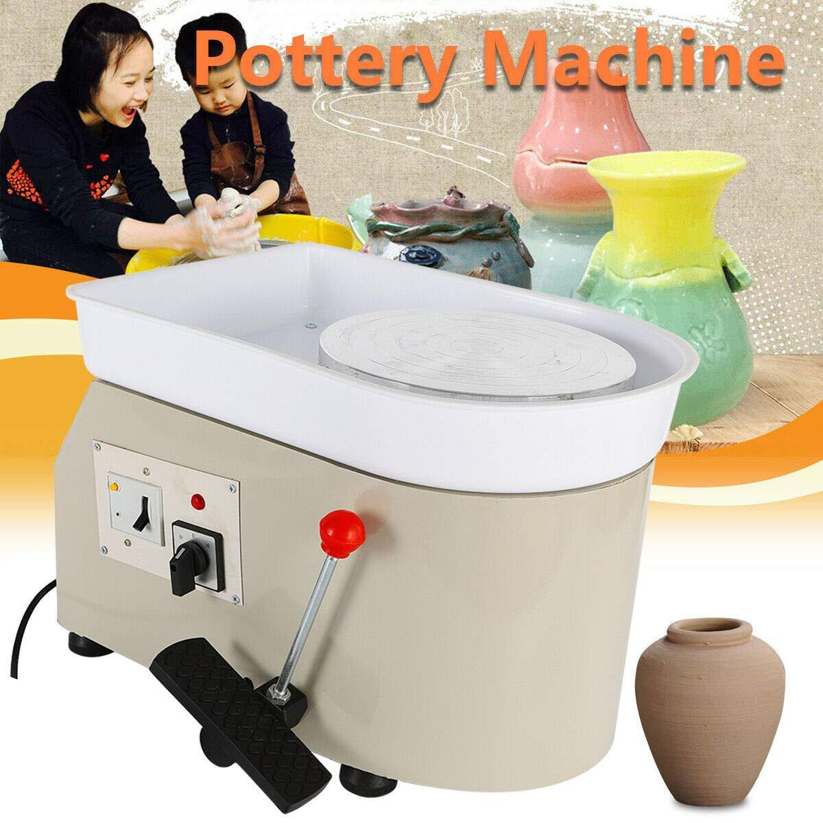 350W Pottery Wheel Ceramic Machine Work Clay Art Craft DIY 25cm US Plug Grey Flexible Pedal Work Clay Art Craft