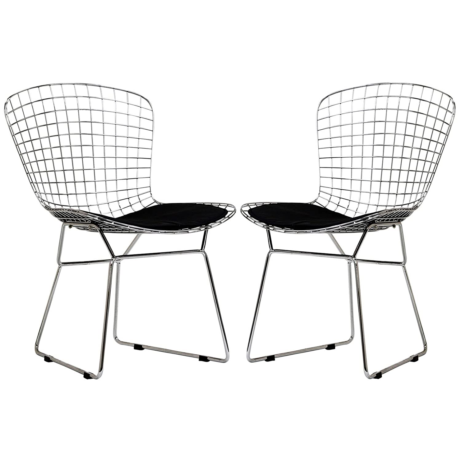 Modway Two Bertoia Style Side Chairs with Black Cushion Modway© EEI-925-BLK