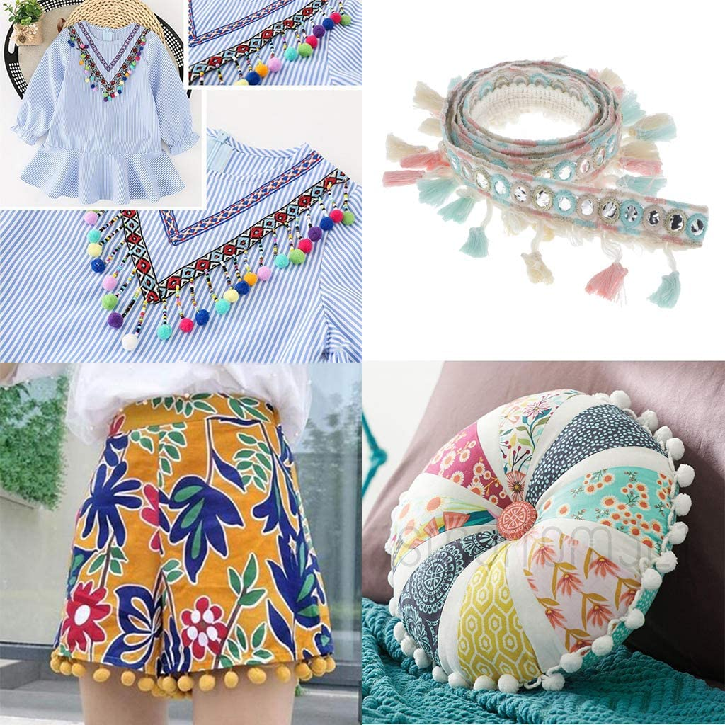 Multicolor F Fityle 1 Yard Ethnic Jacquard Ribbon Pom Pom Trim Pom Pom Pom Pompom Ribbon Tassel Ribbon Pompom Lace Tassel Trim With Sequins For DIY Decoration 2cm Width
