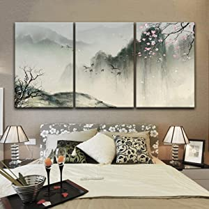 """wall26-3 Panel Canvas Wall Art - Chinese Ink Painting Style Landscape with Mountains and Cherry Blossom in Spring - Giclee Print Gallery Wrap Modern Home Art Ready to Hang - 16""""x24"""" x 3 Panels"""