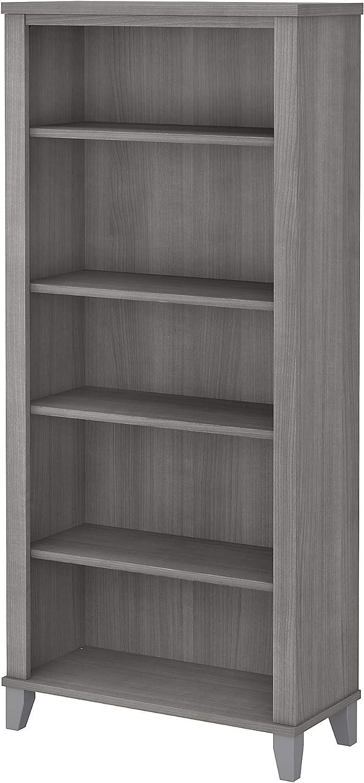 Bush Furniture Somerset Tall 5 Shelf Bookcase, Platinum Gray