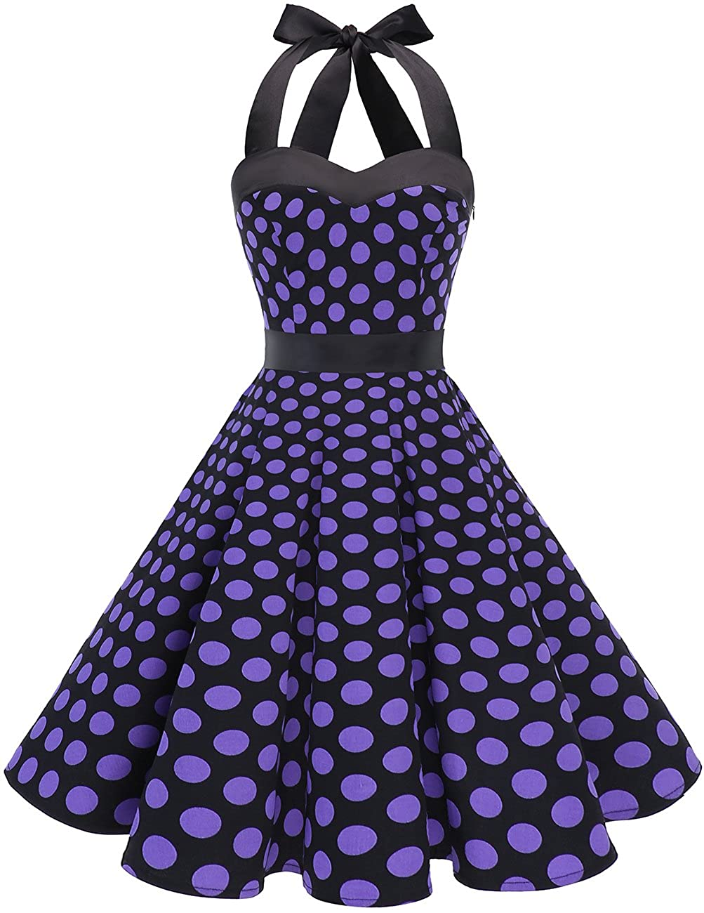 TALLA S. Dresstells® Halter 50s Rockabilly Polka Dots Audrey Dress Retro Cocktail Dress Black Purple Dot S