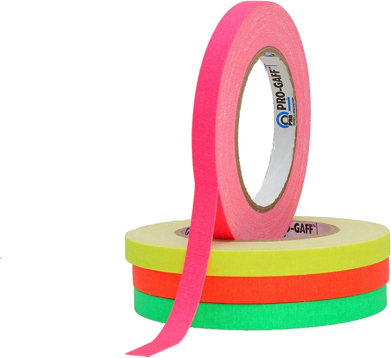 ProTapes/Permacel - Cinta adhesiva de tela, 12 mm x 22.86 m, color verde, naranja, rosa y amarillo
