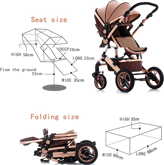 YBL High landscape baby stroller Folding suspension Two-way implementation Suitable for children 0-3 years old Four rounds Baby carriage The choice of city Can sit and lie down
