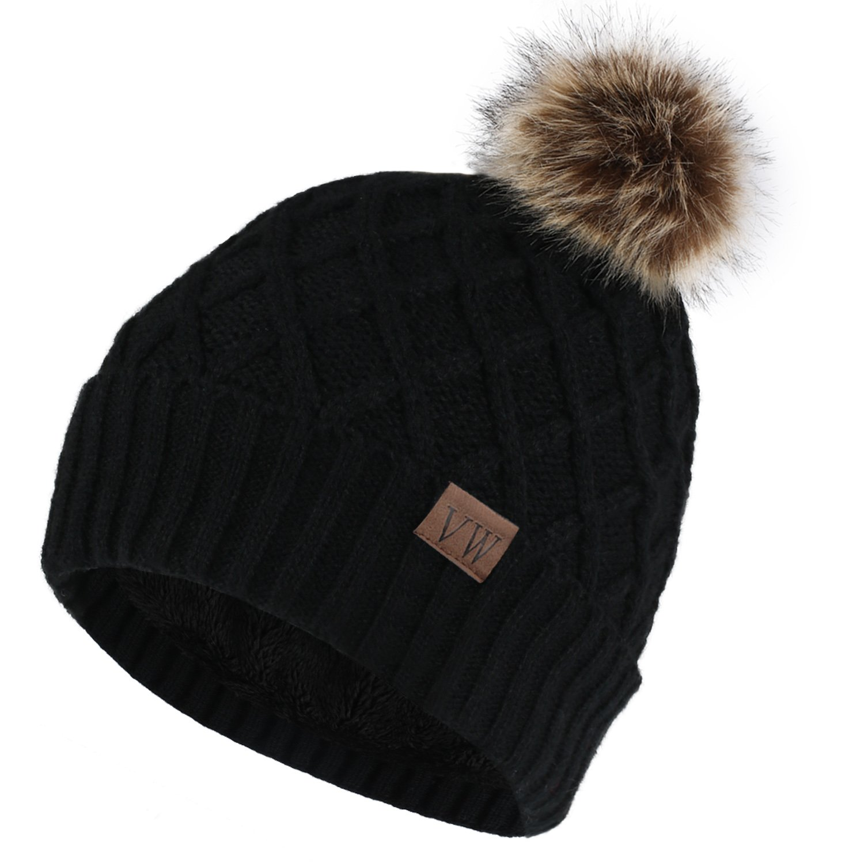 99b526438f7 Vmevo Women s Warm Faux Fur Pom Pom Beanie Hat Soft Cable Knit Winter  Fleece Lined Skull Cap Cuff Beanie Black at Amazon Women s Clothing store