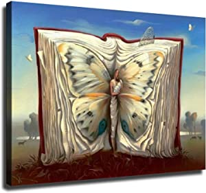 Home Decor Print Oil Painting on Canvas Wall Art, Butterflies in the book (12x16inch,Framed)