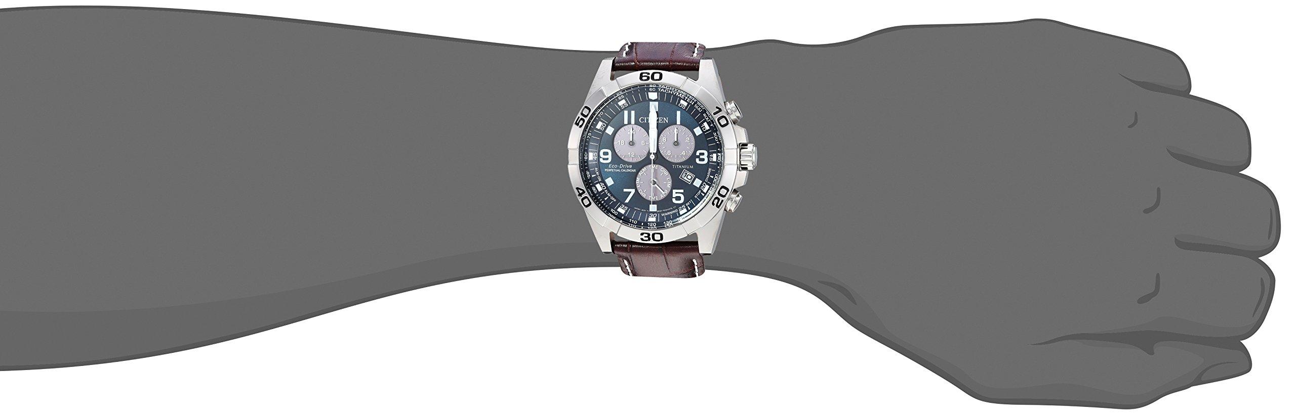 Citizen Men's Eco-Drive Titanium Quartz Brown Leather Calfskin Strap Casual Watch (Model: BL5551-06L) by Citizen (Image #2)