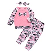 Baby Boys Girls Clothes Long Sleeve Hoodie Tops Sweatsuit Long Pants Outfit Set (Pink, 0-6 Months)