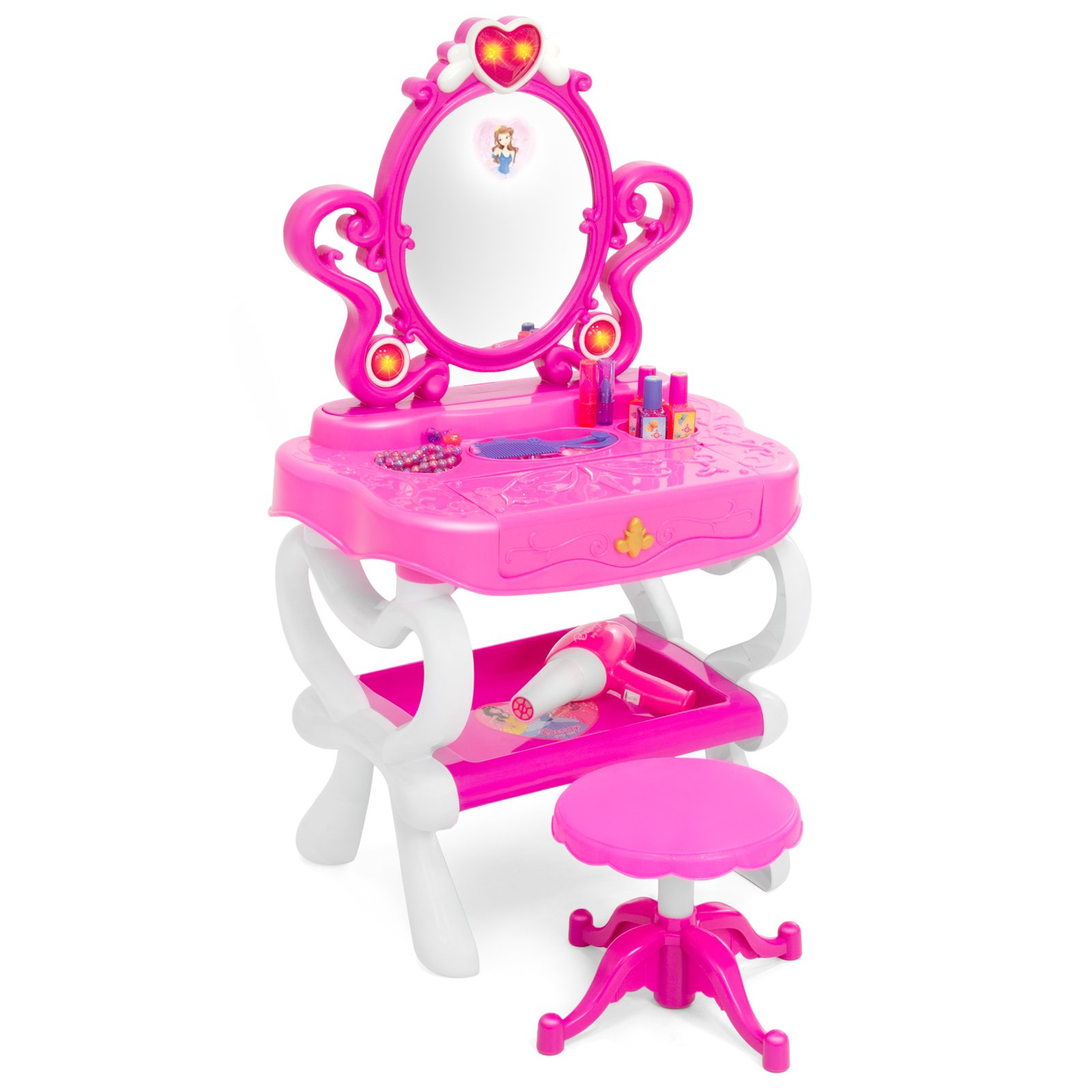 Best Choice Products Kids 2-in-1 Vanity Mirror and 18-Key Keyboard with Toy Hairdryer, Stool, Lights