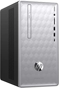 HP Pavilion 590-p0039 Desktop PC - AMD A12-9800 3.8GHz, 16GB, 1TB HDD, DVDRW, Bluetooth, USB Keyboard & Mouse, Windows 10 Home - Natural Silver (Renewed)