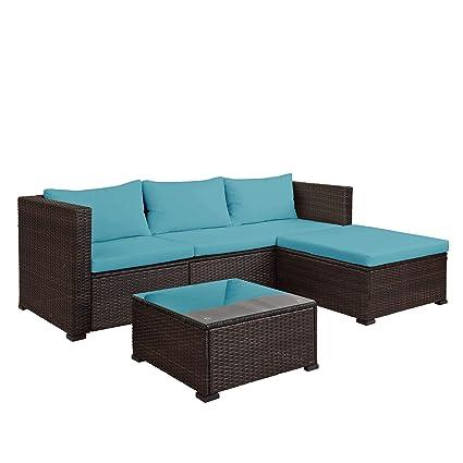 Fantastic Teeker 3 Pieces Patio Furniture Set Pe Rattan Sectional Garden Furniture Corner Sofa Set With Tea Table Blue Pabps2019 Chair Design Images Pabps2019Com