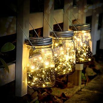 SUNNOW Luz Solar Jardín - Juego de 3 Lámparas Solares, 30 Luces LED de Hadas, Luces De Jardin Solares, Impermeable Interiores/Exteriores Decoración Lámpara Para Navidad Jardín de Patio y Césped: Amazon.es: Iluminación