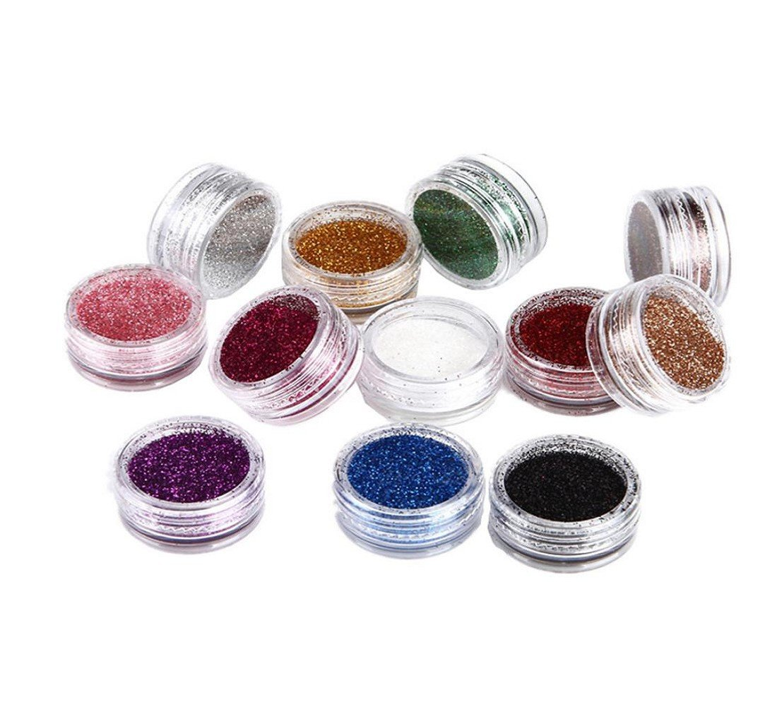 Tongshi 12 Color Nail Art Gradual Shimmering lentejuelas en polvo: Amazon.es: Belleza