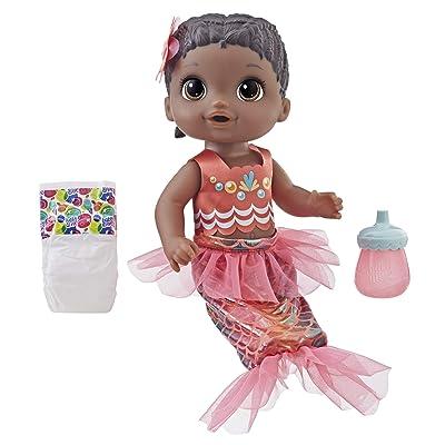 Baby Alive Shimmer 'n Splash Mermaid (Black Hair): Toys & Games