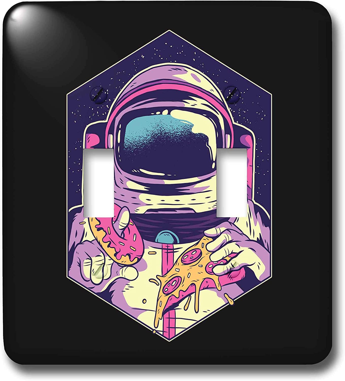 3dRose Sven Herkenrath Fantasy - Illustration Design with Astronaut and Pizza Food Sweet - double toggle switch (lsp_306912_2)