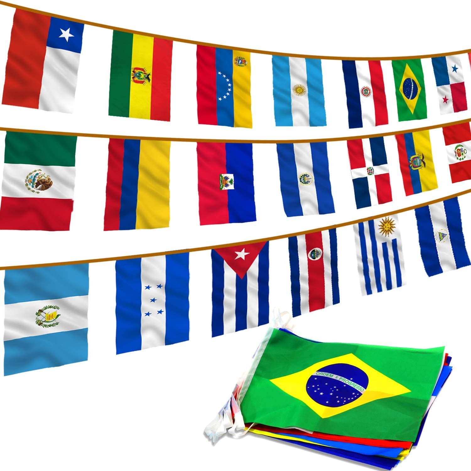 Anley Latin America 20 Countries String Flags - Assorted Latino Flag Banners for International Events Conference Party Decoration Sports Bars - 30 Ft 20 Flags