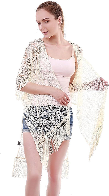L M Womens//Ladies Crochet Tassel Fringe Beach Top Kimono Wrap Cover Up Size S
