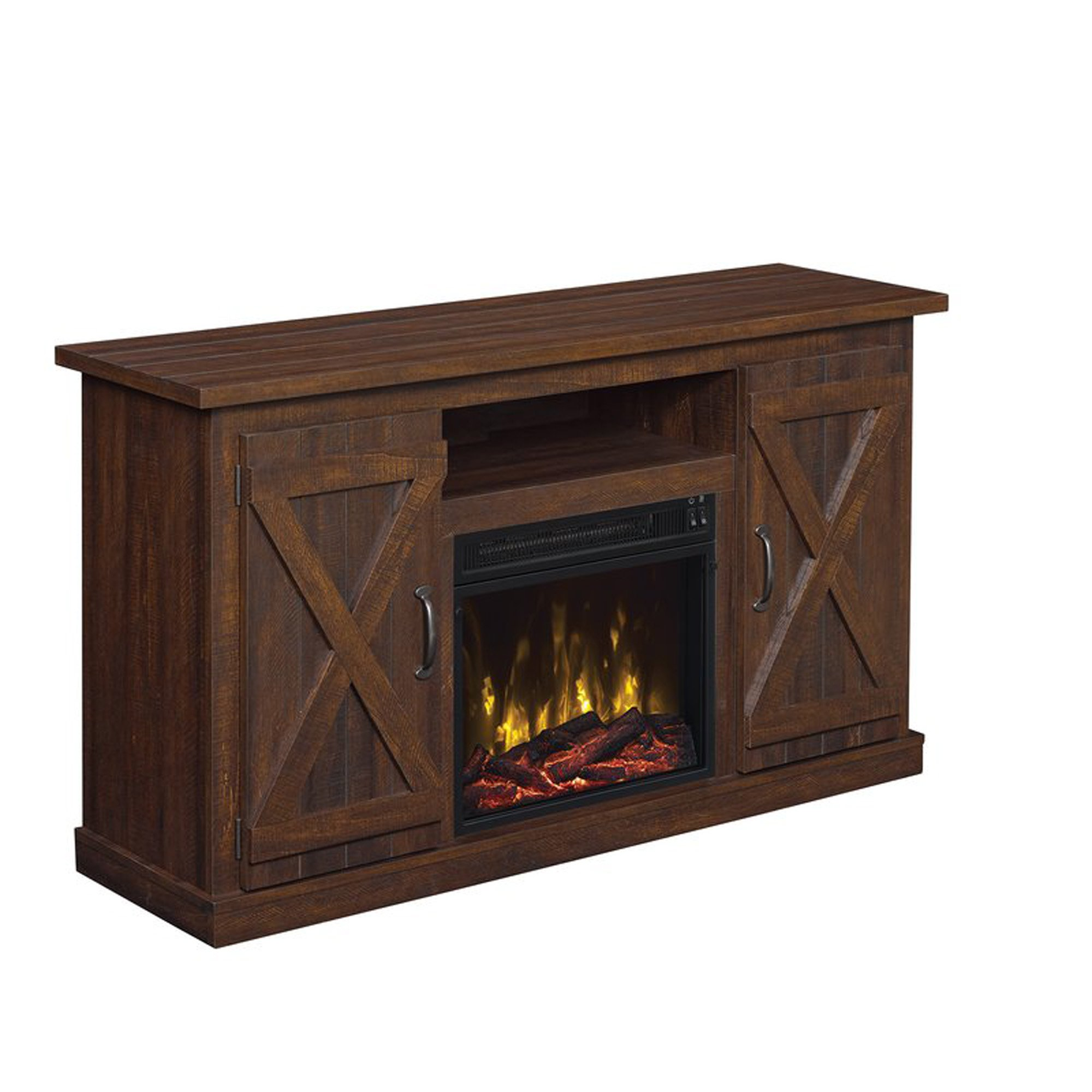 Industrial 48'' TV Stand - Antique Rustic Look - Electric Fireplace Heater - Vintage Design (Saw Cut Espresso)