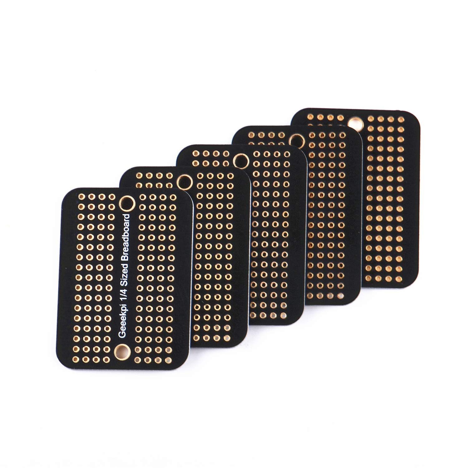 GeeekPi Proto Breadboard PCB Board Gold Plated Experimental Breadboard Soldering Board Double-Sided PCB DIY Kit for Arduino (Pack of 5PCS) (Half Size)